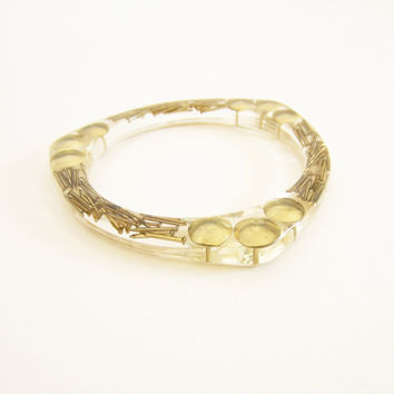 Resin BANGLE gold NAILS and PUSHPINS. Resin bracelet.luxury chic cuff