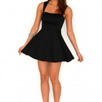 Missguided - Marcilla Sweetheart Cut Out Skater Dress In Black