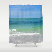 Blue Green Sea - Shower Curtain, Beach Style Ocean Seascape Accent, Boho Chic Hanging Tub Vanity Accent Bathroom Curtain. In 71x74 Inches