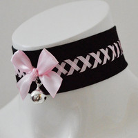 Kitten play collar - Night gleam - necklace kawaii cute lolita neko girl kitten pet play - Black and pastel pink lace collar with bell