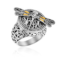 18K Yellow Gold & Sterling Silver Baroque Dragonfly Ring: Size 8