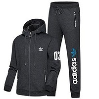 Boys & Men Adidas Cardigan Jacket Coat Pants Trousers Set Two-Piece Sportswear