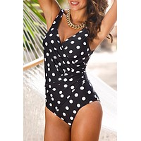 Black Polka Dots Ruched One Piece Swimsuit