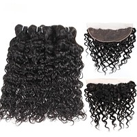 3Pcs Mongolian Water Wave Bundles With Frontal Non Remy Human Hair