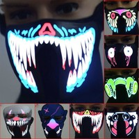 Mask Halloween LED Luminous Flashing Face Mask Party Masks Sound Control Light Up Dance Halloween Cosplay Masks Party Supplies
