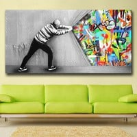 Wxkoil Graffiti Art Wall Picture Behind The Curtain Home Decor On Canvas Modern Wall Art Canvas Print Poster Canvas Painting