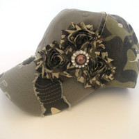 Vintage Camouflage Trucker Baseball Cap Hat with Camouflage Chiffon Flowers and Matching Brown and Rhinestone Accent Duck Dynasty Fans