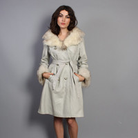 60s LEATHER FOX Fur JACKET / Belted Gray Coat with Fluffy Collar & Cuffs, xs-s