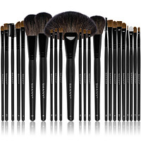 Studio Quality Natural Cosmetic Brush Set with Leather Pouch, 24 Count