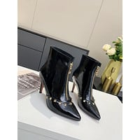 Valentino  Trending Women's men Leather Side Zip Lace-up Ankle Boots Shoes High Boots