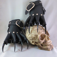Black Leather Gothic Dragon Claw Gauntlets / Gloves Steampunk Goth BDSM