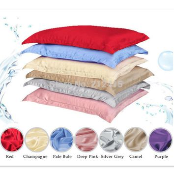 Cool 100% pure silk pillowcase oxford pillow case pillow sham free shipping standard queen king size dyed many colorsAT_93_12