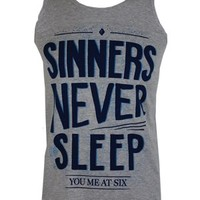 You Me At Six Sinners Never Sleep Text Men's Vest - Offical Band Merch - Buy Online at Grindstore.com
