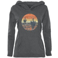 PEAPGQ9 Vintage Cactus Sunset Womens Pullover Hoodie