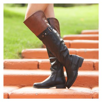 Half and Half Black and Brown Boots CLEARANCE