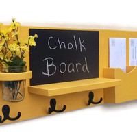 Chalkboard Mail Organizer - Coat Rack - Mail Holder - Letter Holder