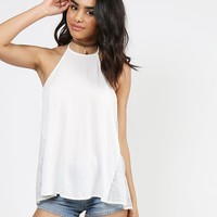 Sassy Open Back Lacey Halter Top - White - Large