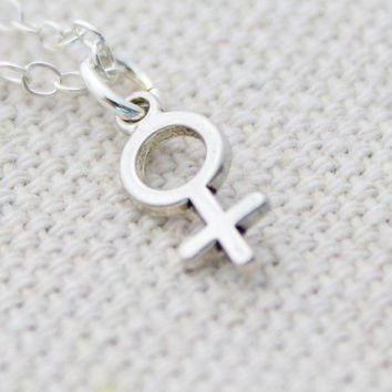 Female Symbol Necklace, Sterling Silver Feminist Necklace, Venus Symbol Necklace, Strong Woman, Symbol For Woman, Gender Charm Necklace