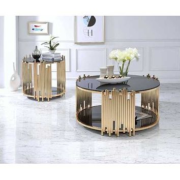 """25"""" X 25"""" X 22"""" Black Glass And Gold End Table"""