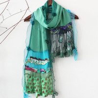 Green cotton scarf, Green linen scarves, Women's Fashion, Design green shawl, New Year gift options, Lace green scarf, Patchwork scarf