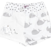 Monnalisa - Baby Girls Whale Polka Dot Shorts With Sequins, White
