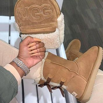 UGG Classic Hot-Selling Mid-Tube Double-Layer Bow Snow Boots Men And Women Boots Shoes