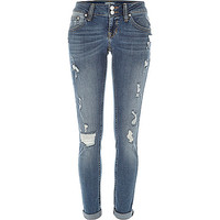 River Island Womens Mid wash distressed Matilda skinny jeans