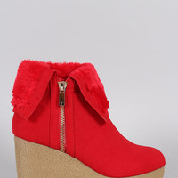 Bamboo Faux Fur Cuff Contrast Platform Wedge Bootie