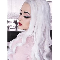 Long Snow White Body Wavy Synthetic Lace Front Wig