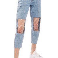Topshop Clear Knee Mom Jeans | Nordstrom