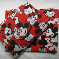 Vintage Disney Mickey Mouse Classic Red Black Flat Fitted Sheet Set Twin Size 2 Piece Kids Bedding Craft Fabric Bedroom Decor Clean Used