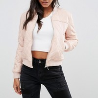 Boohoo Quilted Leather Look Bomber Jacket at asos.com