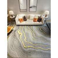 Stylish Finished Living Room Carpet Rug In Geometric Pattern
