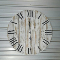 """36in """"Classic""""  Weathered wood wall clock with Roman numerals, reclaimed wood, fixer upper , farmhouse-style clock"""