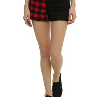 Black & Red Buffalo Check Stud Split Leg Shorts
