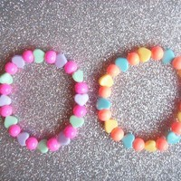 Candy Carnival - Pastel Hearts and Gumball Bead Stretch Bracelets - Set of 2 from On Secret Wings