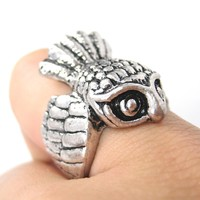 Antique Owl Bird Animal Wrap Around Ring in Silver   Sizes 6 and 7
