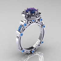 Caravaggio 14K White Gold 2.0 Ct Alexandrite Blue Topaz Engagement Ring R631-14KWGBTAL