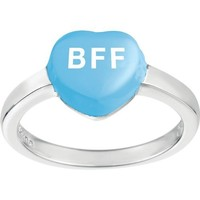Sterling Silver Blue 'BFF' Heart Ring, Size 6 (Best Friends Forever) with Sweethearts Gift Box
