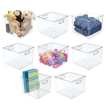 """mDesign Plastic Home Storage Organizer Bin for Cube Furniture Shelving in Office, Entryway, Closet, Cabinet, Bedroom, Laundry Room, Nursery, Kids Toy Room - 7.5"""" High- 8 Pack - Clear 10 x 10 x 8"""