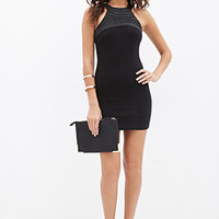 FOREVER 21 Beaded Halter Bodycon Dress Black/Gunmetal