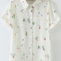 Multicolor Buttons Front Short Sleeve Print Chiffon Blouse