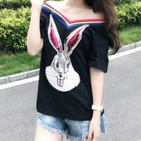 Women Casual Fashion Diamond Cartoon Rabbit Embroidery Short Sleeve T-shirt Top Tee
