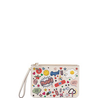 Anya Hindmarch Allover Wink Zip-Top Pouch, White/Multi