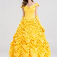 S-XXL Princess Belle Costume Adult Women Beauty And The Beast Costume For Halloween Cosplay Dress
