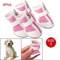PetFavorites(TM) Cute Pet Puppy Velcro Dog Sports Shoes Zip up Breathable Pink Dog Boots Non Slip Dog Booties Sneaker for Small Toy Chihuahua Yorkie Doggies Size 1