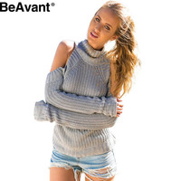 BeAvant turtleneck off shoulder sexy pull femme Tricot autumn winter pullover sweaters women Oversized fashion jumpers