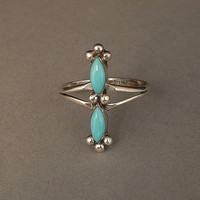 Vintage NATIVE American Turquoise Zuni RING STERLING Silver Signed Hallmarks Size 6 c.1980s
