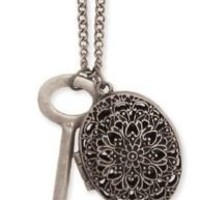 """Zad Jewelry Vintage Look Large Key and Oval Filigree Cutout Locket Charm Necklace, 34"""""""