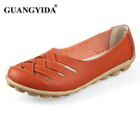 Women Sandals Summer Shoe 2016 New Female Fashion Genuine Leather Hollow Out Nurses Working Cow Muscle Gladiator Flats Shoes